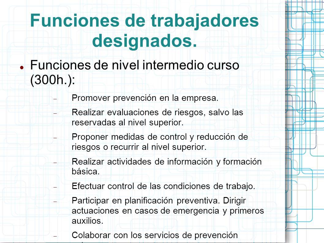 Funciones de trabajadores designados. Funciones de nivel intermedio curso (300h.): Promover prevención en la empresa. Realizar evaluaciones de riesgos