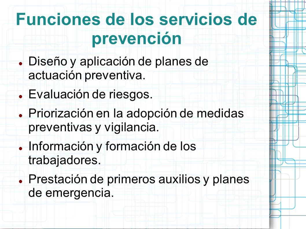 Funciones de los servicios de prevención Diseño y aplicación de planes de actuación preventiva. Evaluación de riesgos. Priorización en la adopción de