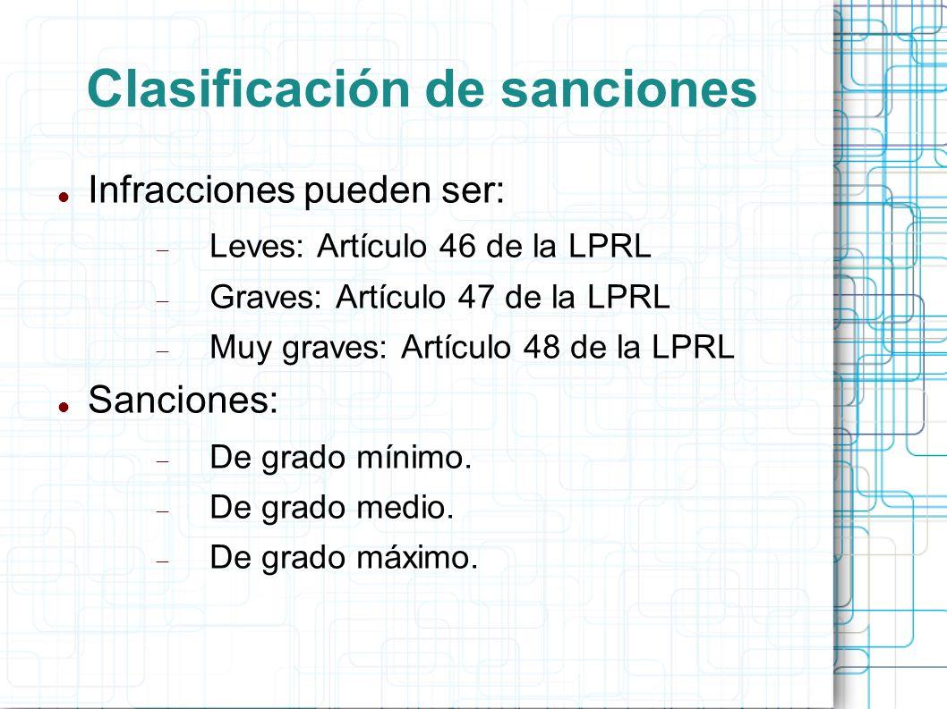 Clasificación de sanciones Infracciones pueden ser: Leves: Artículo 46 de la LPRL Graves: Artículo 47 de la LPRL Muy graves: Artículo 48 de la LPRL Sa