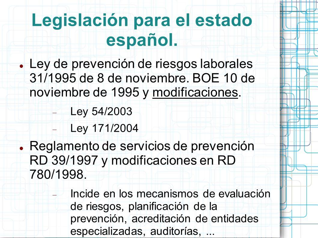 Legislación para el estado español. Ley de prevención de riesgos laborales 31/1995 de 8 de noviembre. BOE 10 de noviembre de 1995 y modificaciones. Le