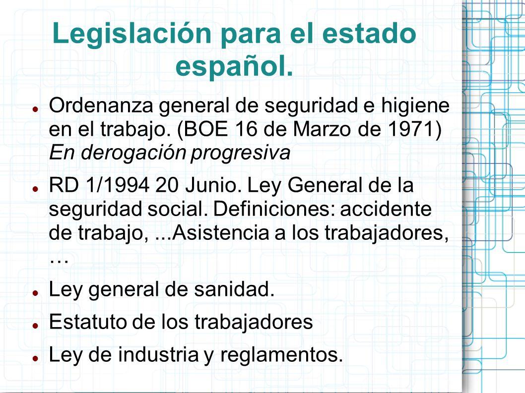 Legislación para el estado español. Ordenanza general de seguridad e higiene en el trabajo. (BOE 16 de Marzo de 1971) En derogación progresiva RD 1/19