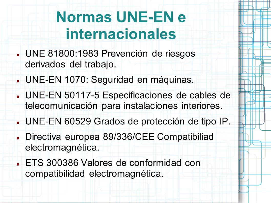 Normas UNE-EN e internacionales UNE 81800:1983 Prevención de riesgos derivados del trabajo. UNE-EN 1070: Seguridad en máquinas. UNE-EN 50117-5 Especif