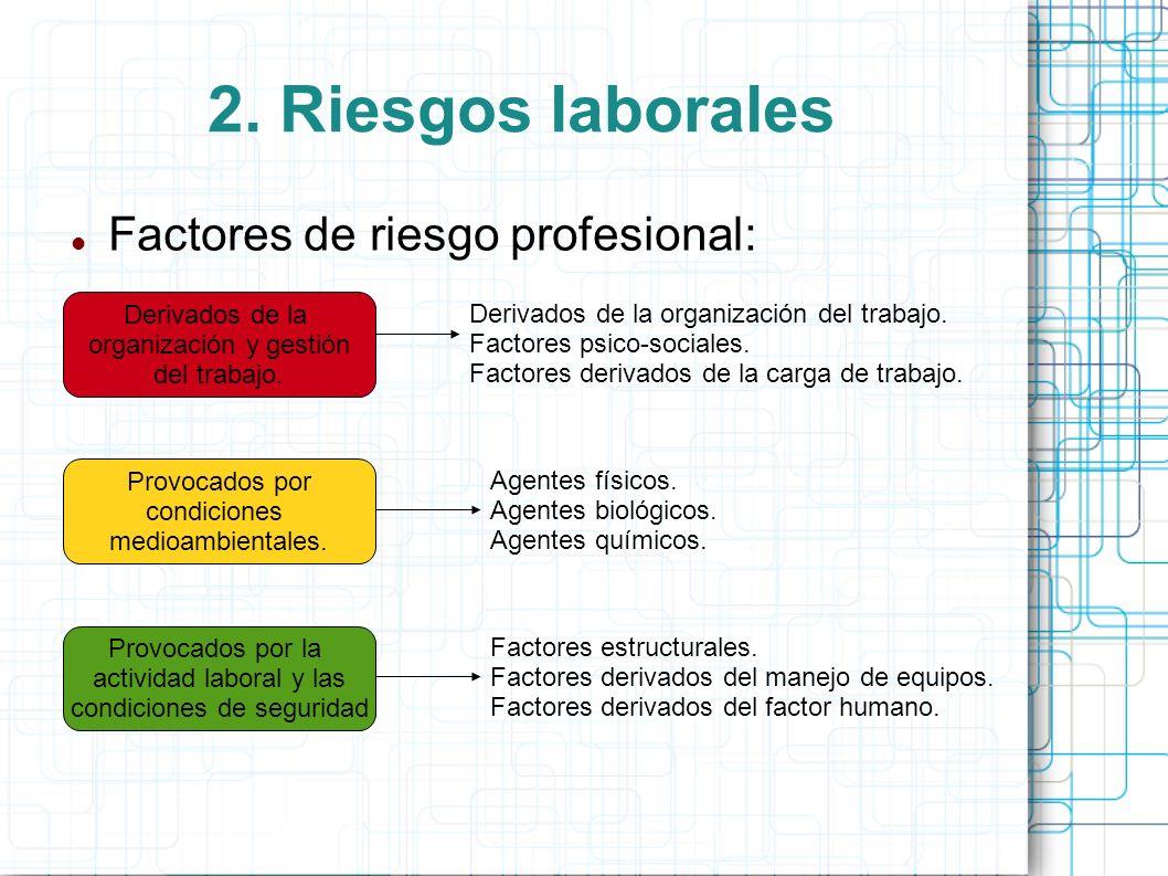 2. Riesgos laborales Factores de riesgo profesional: Derivados de la organización y gestión del trabajo. Provocados por condiciones medioambientales.
