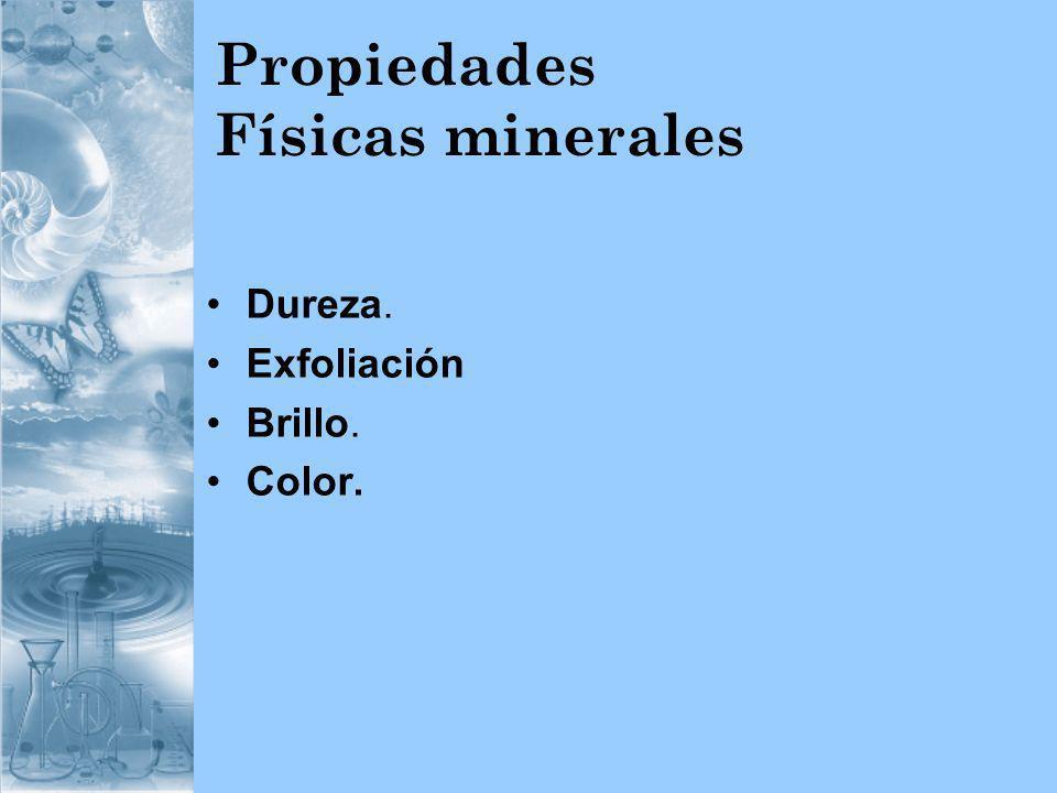 Propiedades Físicas minerales Dureza. Exfoliación Brillo. Color.