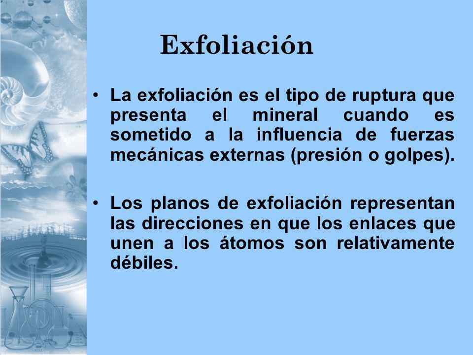 Exfoliación La exfoliación es el tipo de ruptura que presenta el mineral cuando es sometido a la influencia de fuerzas mecánicas externas (presión o g