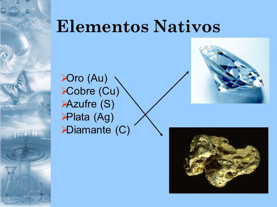 Elementos Nativos Oro (Au) Cobre (Cu) Azufre (S) Plata (Ag) Diamante (C)
