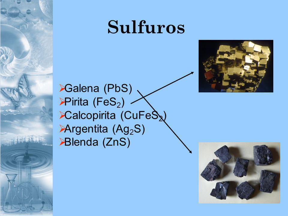 Sulfuros Galena (PbS) Pirita (FeS 2 ) Calcopirita (CuFeS 2 ) Argentita (Ag 2 S) Blenda (ZnS)
