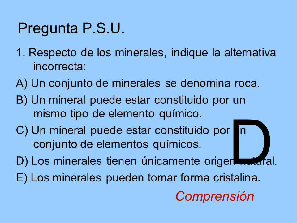 Pregunta P.S.U. 1. Respecto de los minerales, indique la alternativa incorrecta: A) Un conjunto de minerales se denomina roca. B) Un mineral puede est