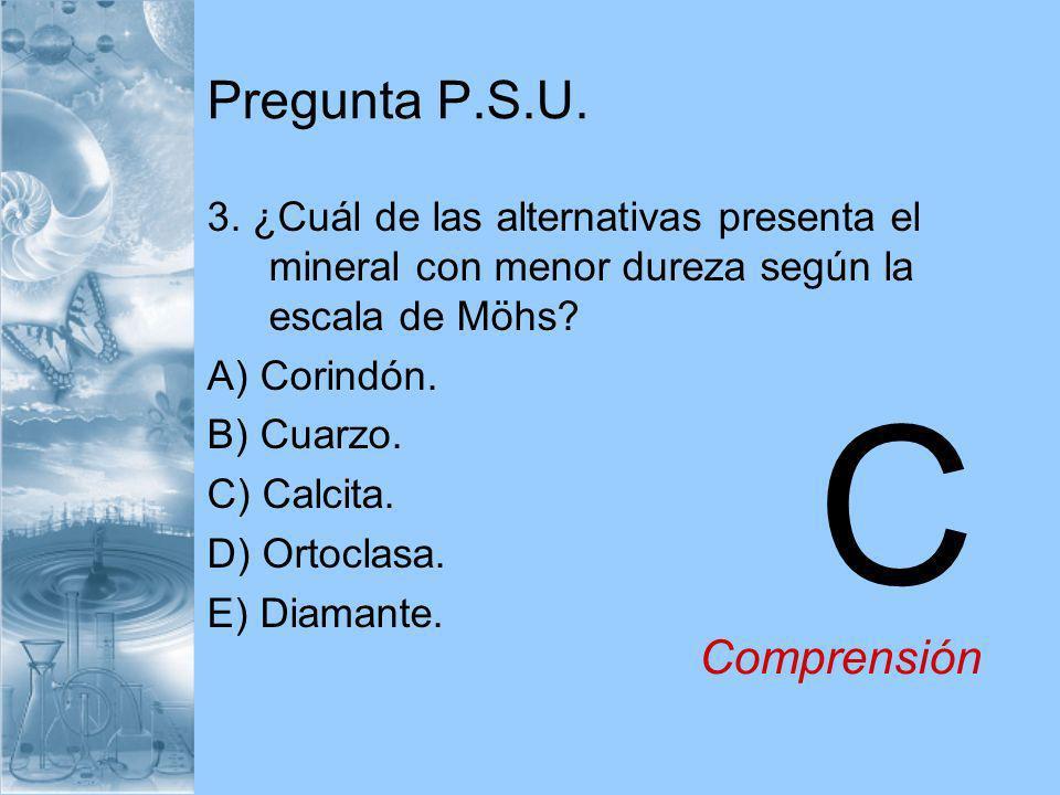 Pregunta P.S.U. 3. ¿Cuál de las alternativas presenta el mineral con menor dureza según la escala de Möhs? A) Corindón. B) Cuarzo. C) Calcita. D) Orto