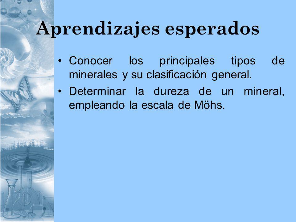 Aprendizajes esperados Conocer los principales tipos de minerales y su clasificación general. Determinar la dureza de un mineral, empleando la escala