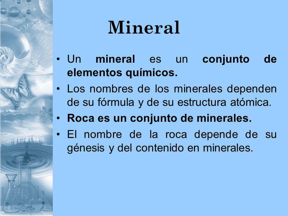 Mineral Un mineral es un conjunto de elementos químicos. Los nombres de los minerales dependen de su fórmula y de su estructura atómica. Roca es un co