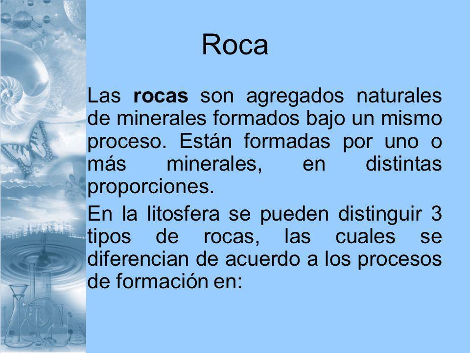 Roca Las rocas son agregados naturales de minerales formados bajo un mismo proceso. Están formadas por uno o más minerales, en distintas proporciones.