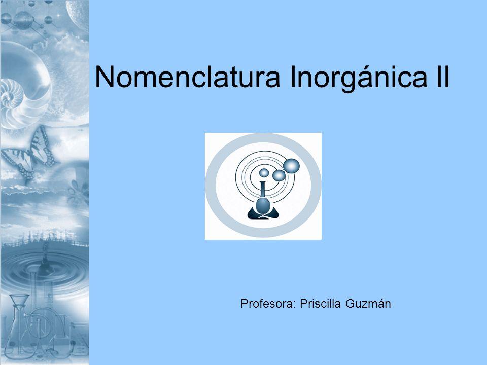 Nomenclatura Inorgánica II Profesora: Priscilla Guzmán