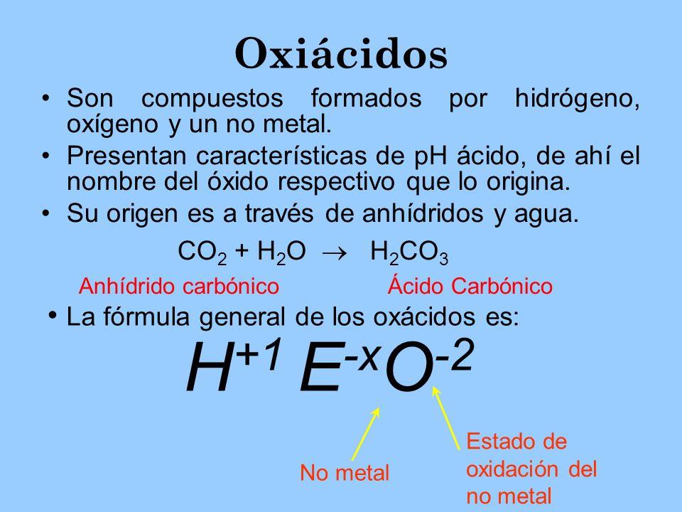 Oxiácidos Son compuestos formados por hidrógeno, oxígeno y un no metal. Presentan características de pH ácido, de ahí el nombre del óxido respectivo q