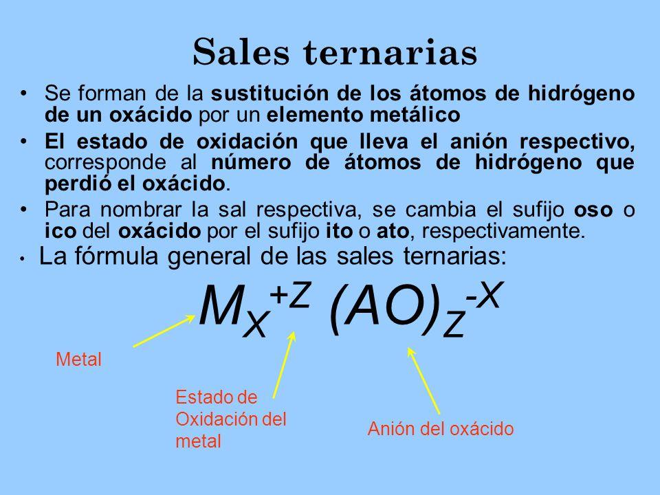 Sales ternarias Se forman de la sustitución de los átomos de hidrógeno de un oxácido por un elemento metálico El estado de oxidación que lleva el anió
