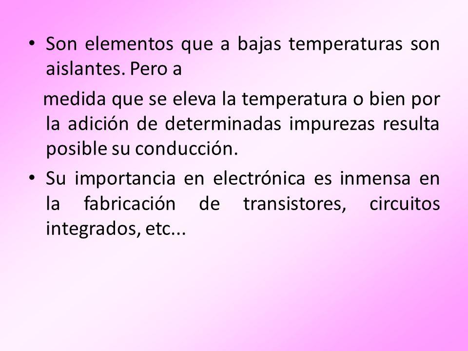 Los semiconductores tienen valencia 4, esto es 4 electrones en órbita exterior ó de valencia.