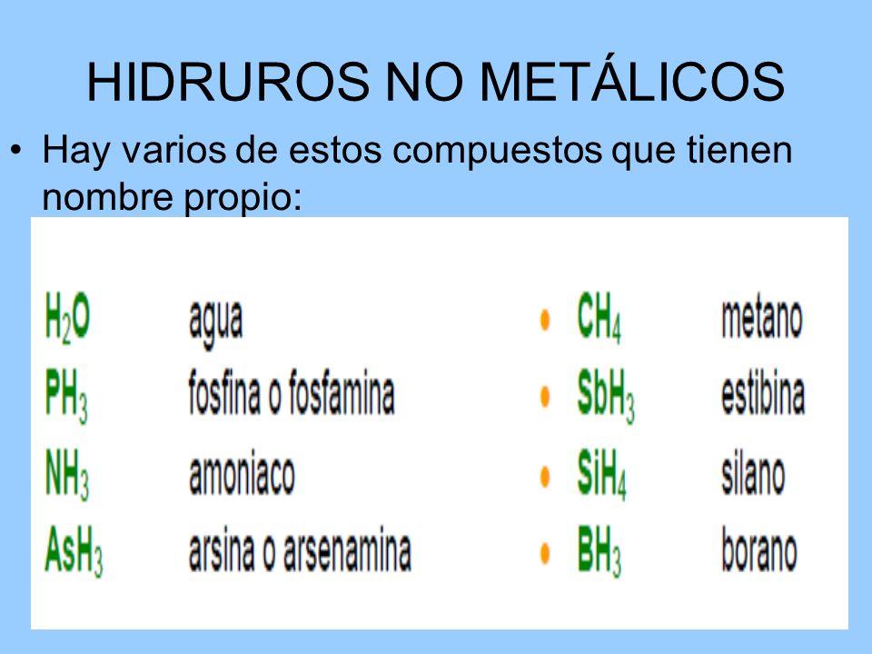 HIDRUROS NO METÁLICOS Hay varios de estos compuestos que tienen nombre propio: