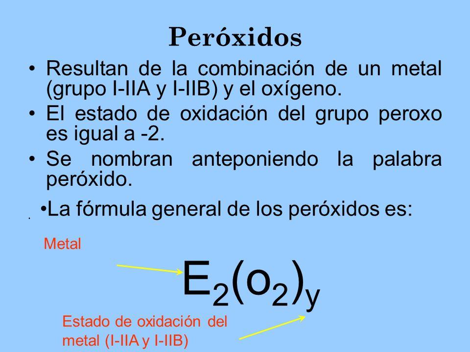 Peróxidos Resultan de la combinación de un metal (grupo I-IIA y I-IIB) y el oxígeno. El estado de oxidación del grupo peroxo es igual a -2. Se nombran