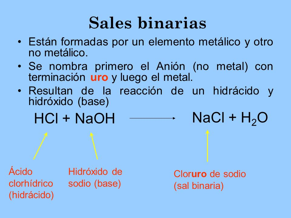 Sales binarias Están formadas por un elemento metálico y otro no metálico. Se nombra primero el Anión (no metal) con terminación uro y luego el metal.