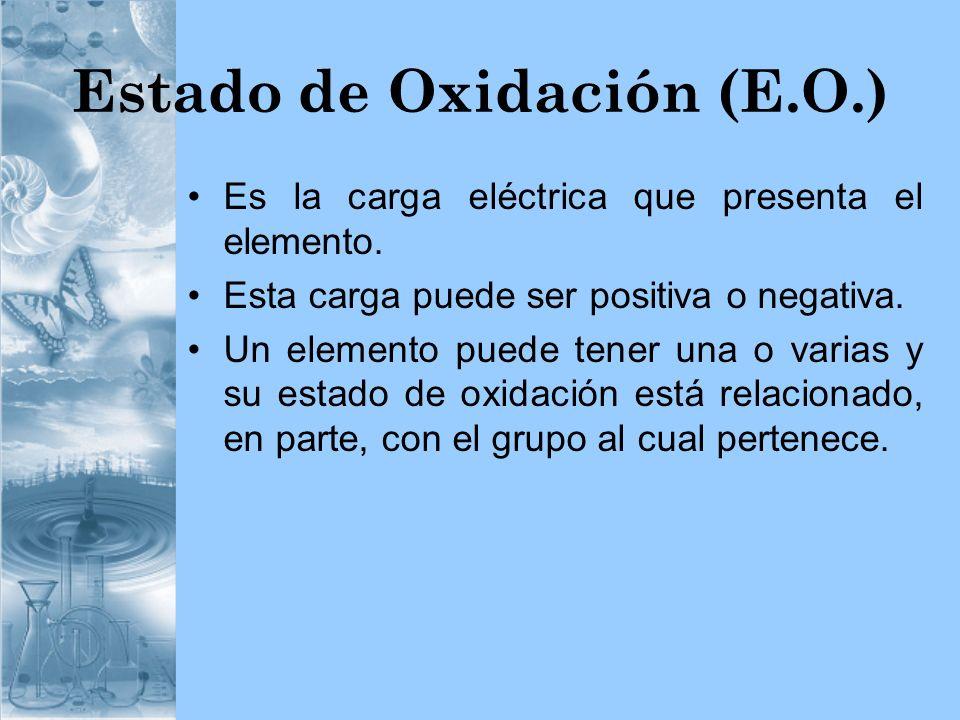 Estado de Oxidación (E.O.) Es la carga eléctrica que presenta el elemento. Esta carga puede ser positiva o negativa. Un elemento puede tener una o var