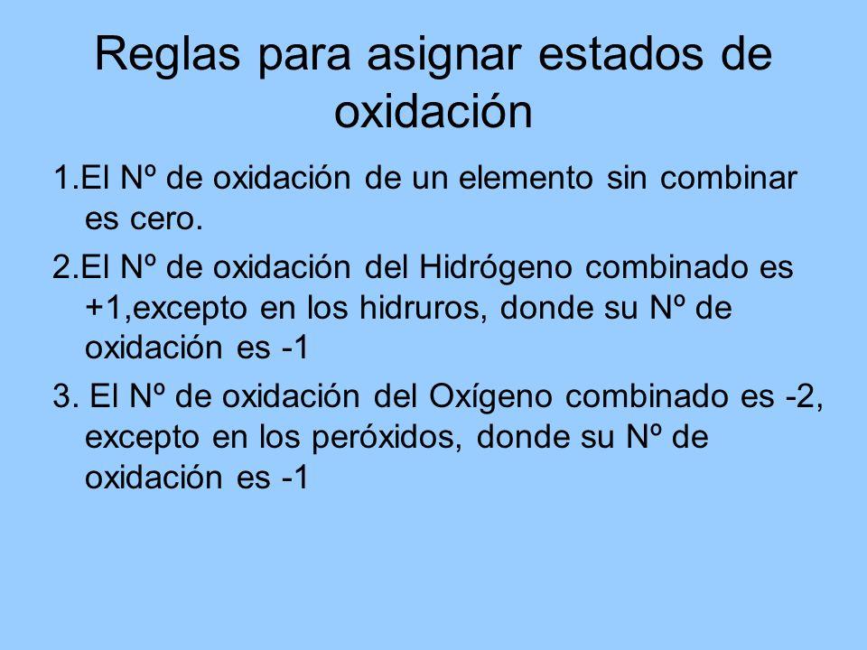 1.El Nº de oxidación de un elemento sin combinar es cero. 2.El Nº de oxidación del Hidrógeno combinado es +1,excepto en los hidruros, donde su Nº de o