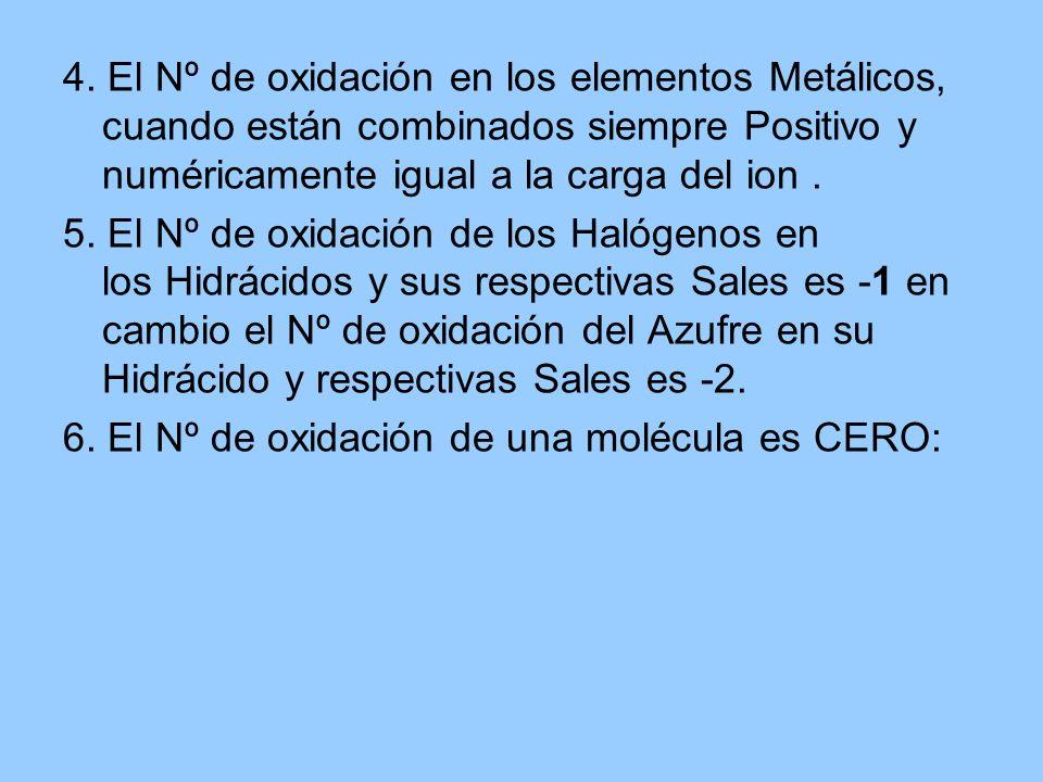 4. El Nº de oxidación en los elementos Metálicos, cuando están combinados siempre Positivo y numéricamente igual a la carga del ion. 5. El Nº de oxida