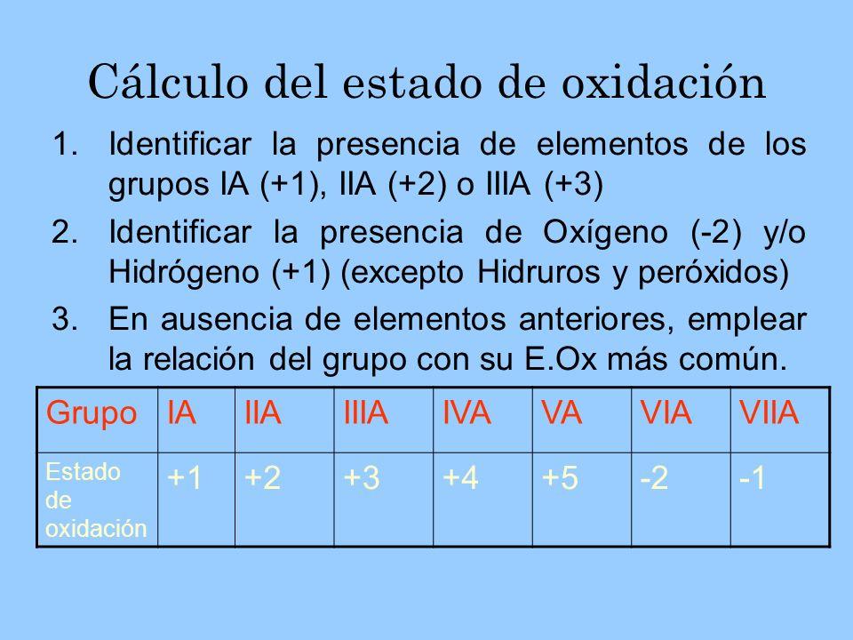S en H 2 SO 4 C en CCl 4 C en MgCO 3 Hidrógeno: +1Oxígeno: -2 2 (+1) + S + 4 (-2) = 0 S = +6 Grupo VIIA : -1 C + 4 (-1) = 0 C = +4 Grupo IIA: +2Oxígeno: -2 1 (+2) + C + 3 (-2) = 0 C = +4