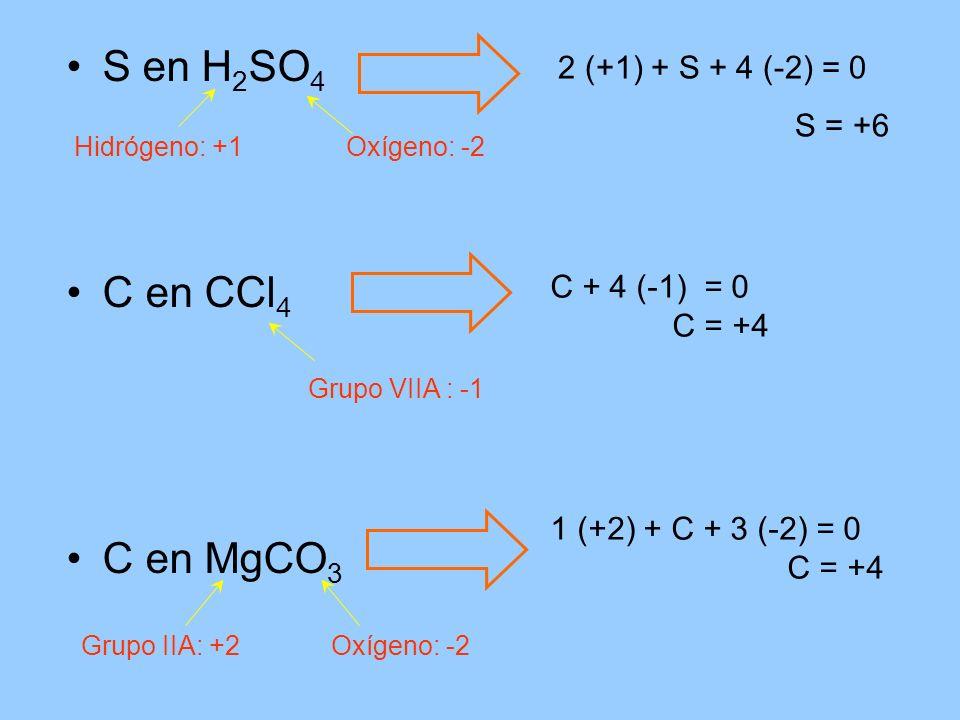 S en H 2 SO 4 C en CCl 4 C en MgCO 3 Hidrógeno: +1Oxígeno: -2 2 (+1) + S + 4 (-2) = 0 S = +6 Grupo VIIA : -1 C + 4 (-1) = 0 C = +4 Grupo IIA: +2Oxígen