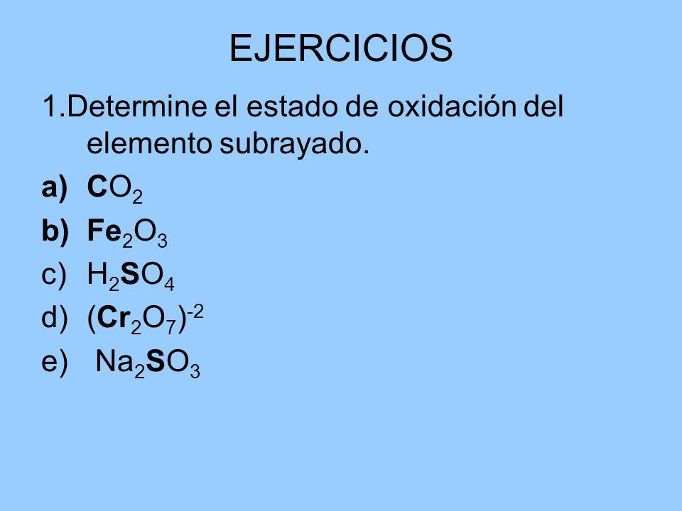 EJERCICIOS 1.Determine el estado de oxidación del elemento subrayado. a)CO 2 b)Fe 2 O 3 c)H 2 SO 4 d)(Cr 2 O 7 ) -2 e) Na 2 SO 3