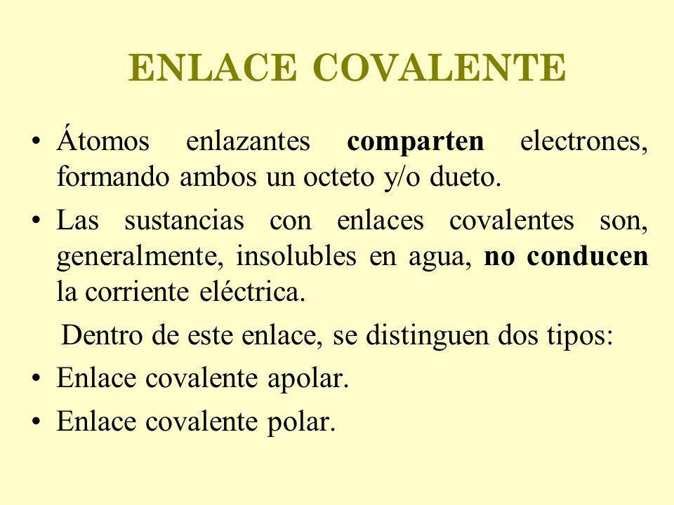 ENLACE COVALENTE Átomos enlazantes comparten electrones, formando ambos un octeto y/o dueto. Las sustancias con enlaces covalentes son, generalmente,