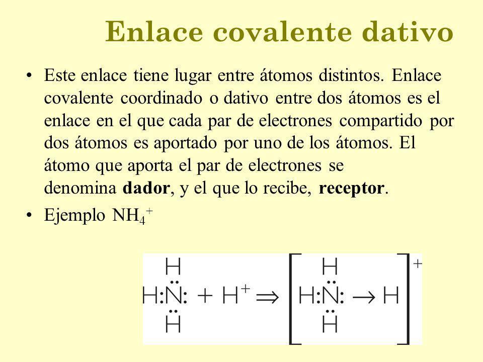 Enlace covalente dativo Este enlace tiene lugar entre átomos distintos. Enlace covalente coordinado o dativo entre dos átomos es el enlace en el que c
