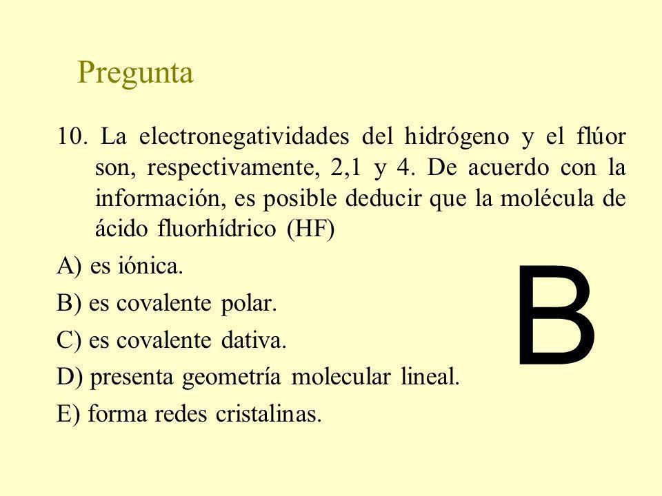 Pregunta 10. La electronegatividades del hidrógeno y el flúor son, respectivamente, 2,1 y 4. De acuerdo con la información, es posible deducir que la