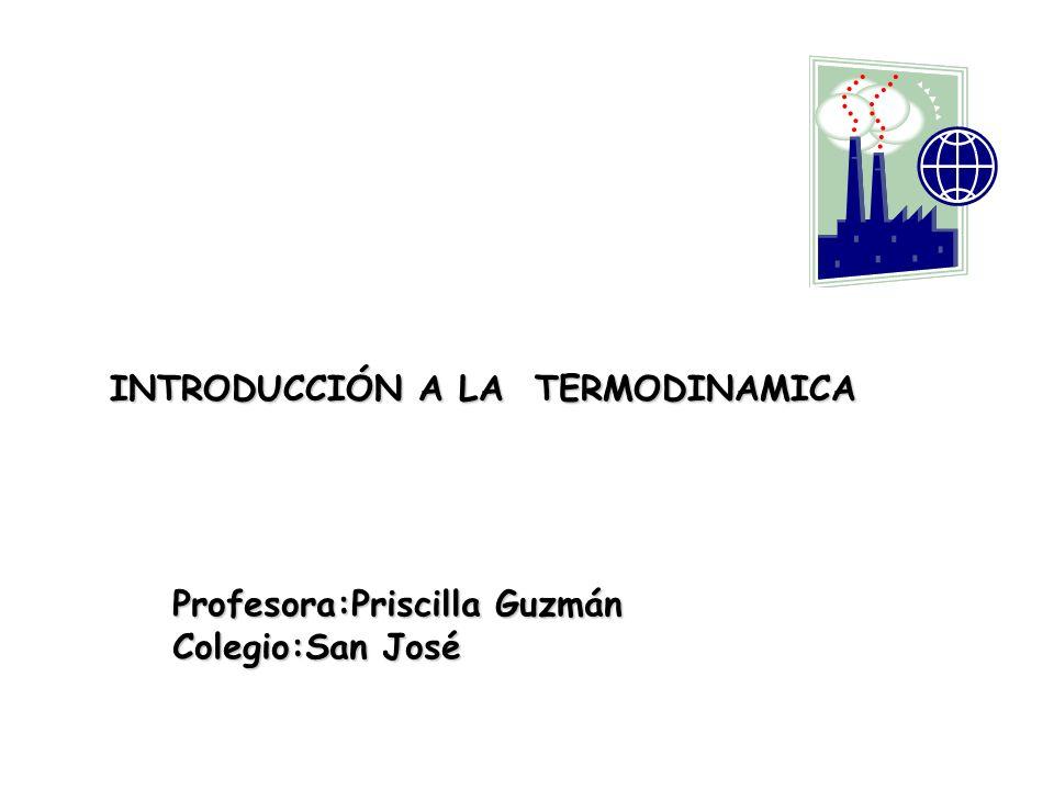 INTRODUCCIÓN A LA TERMODINAMICA Profesora:Priscilla Guzmán Colegio:San José