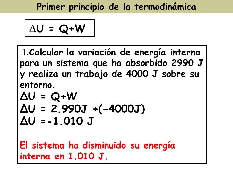 Primer principio de la termodinámica U = Q+W Calcular la variación de energía interna para un sistema que ha absorbido 2990 J y realiza un trabajo de