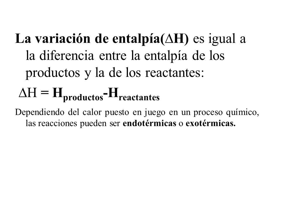 La variación de entalpía(H) es igual a la diferencia entre la entalpía de los productos y la de los reactantes: H = H productos -H reactantes Dependie