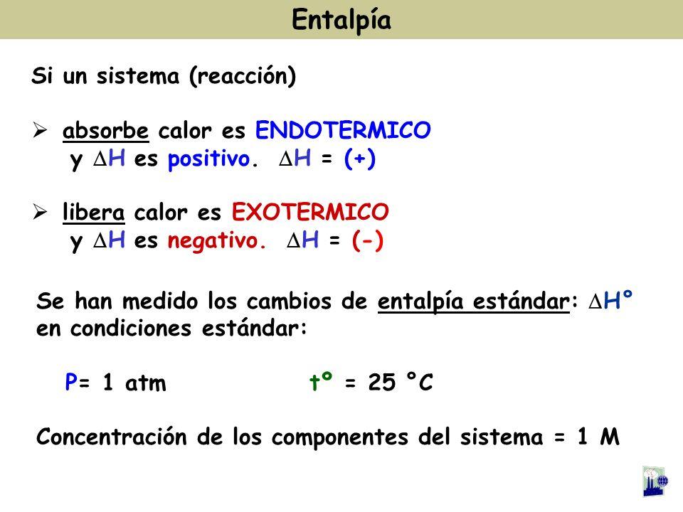 Si un sistema (reacción) absorbe calor es ENDOTERMICO y H es positivo. H = (+) libera calor es EXOTERMICO y H es negativo. H = (-) Entalpía Se han med