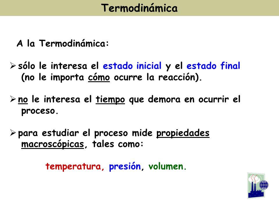 A la Termodinámica: sólo le interesa el estado inicial y el estado final (no le importa cómo ocurre la reacción). no le interesa el tiempo que demora