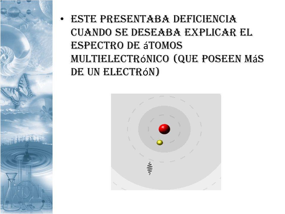 Este presentaba deficiencia cuando se deseaba explicar el espectro de á tomos multielectr ó nico (que poseen m á s de un electr ó n)