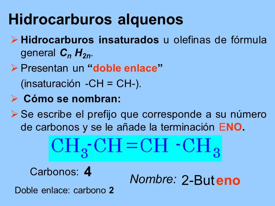 Hidrocarburos alquenos Hidrocarburos insaturados u olefinas de fórmula general C n H 2n. Presentan un doble enlace (insaturación -CH = CH-). Cómo se n