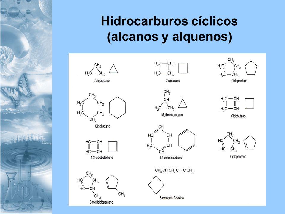 Hidrocarburos cíclicos (alcanos y alquenos)