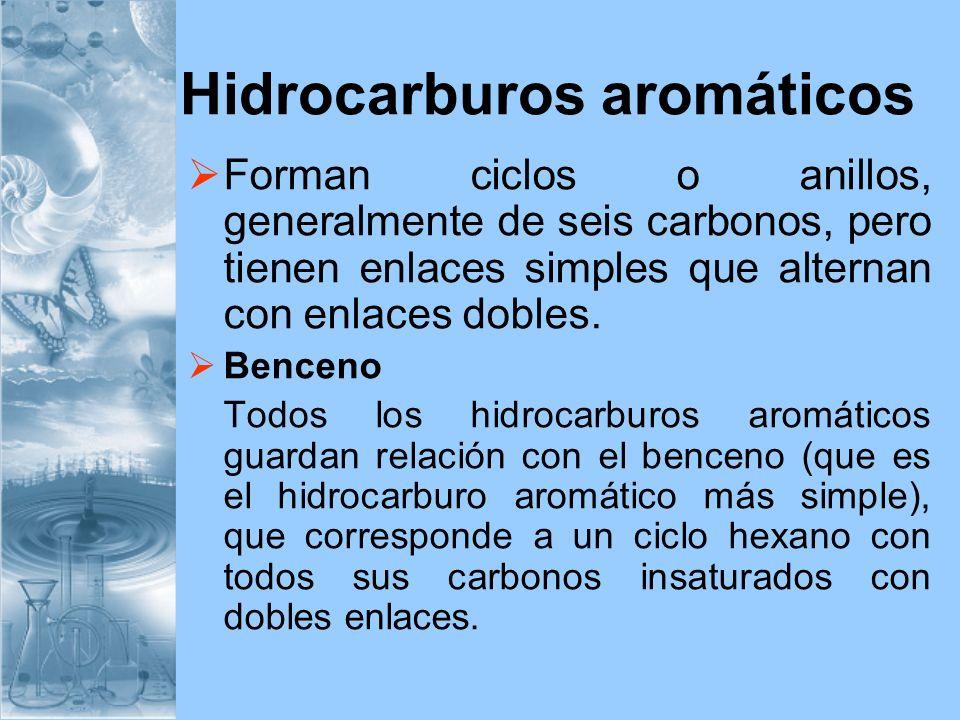 Hidrocarburos aromáticos Forman ciclos o anillos, generalmente de seis carbonos, pero tienen enlaces simples que alternan con enlaces dobles. Benceno