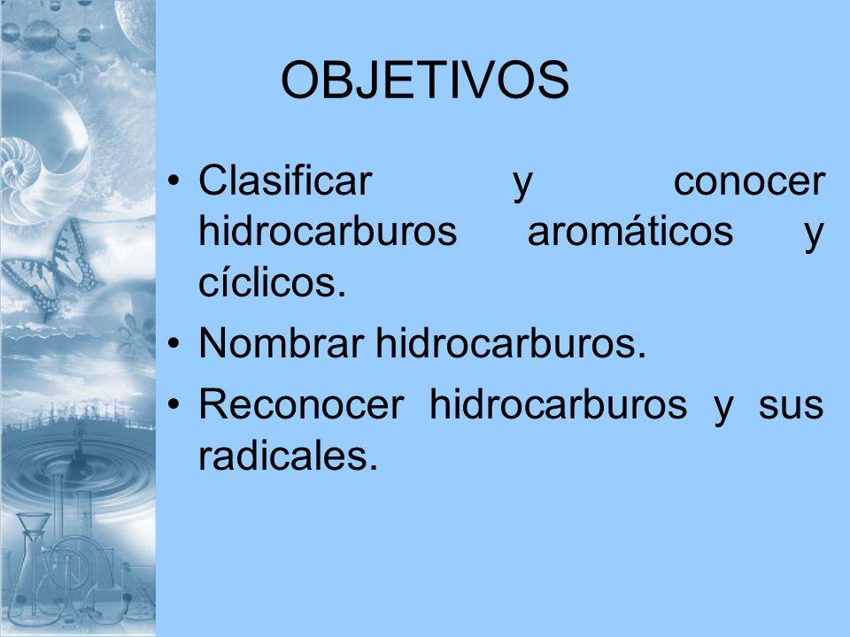 OBJETIVOS Clasificar y conocer hidrocarburos aromáticos y cíclicos. Nombrar hidrocarburos. Reconocer hidrocarburos y sus radicales.