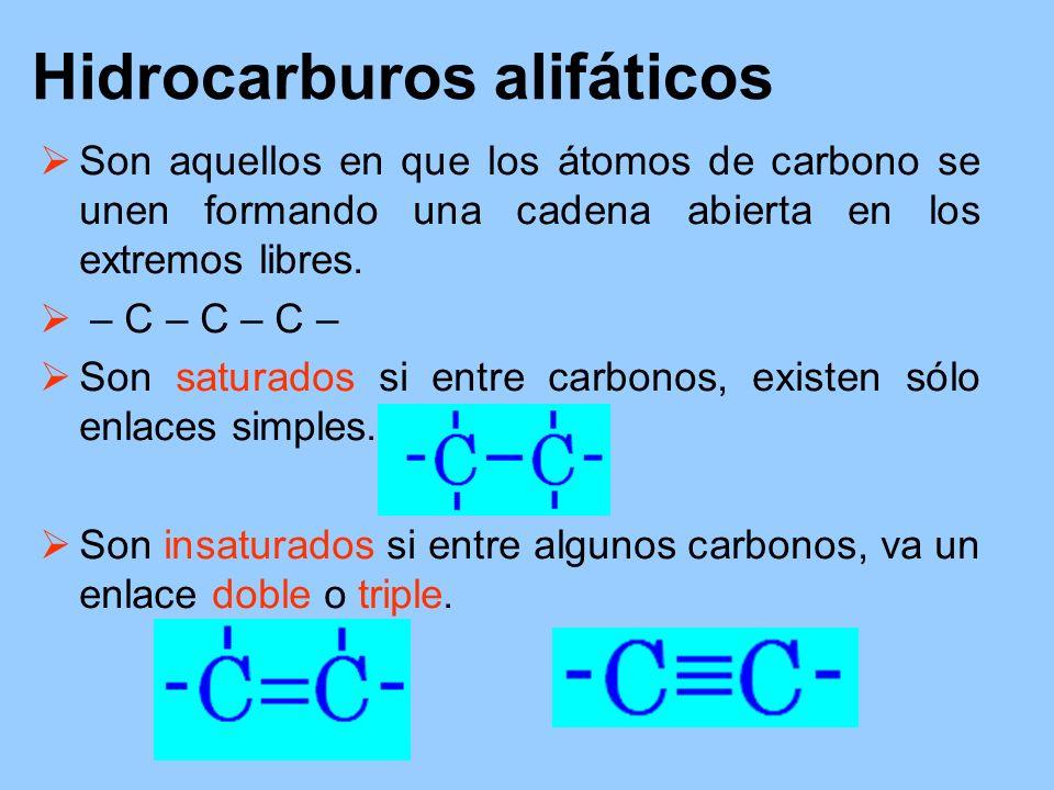 Hidrocarburos alifáticos Son aquellos en que los átomos de carbono se unen formando una cadena abierta en los extremos libres. – C – C – C – Son satur