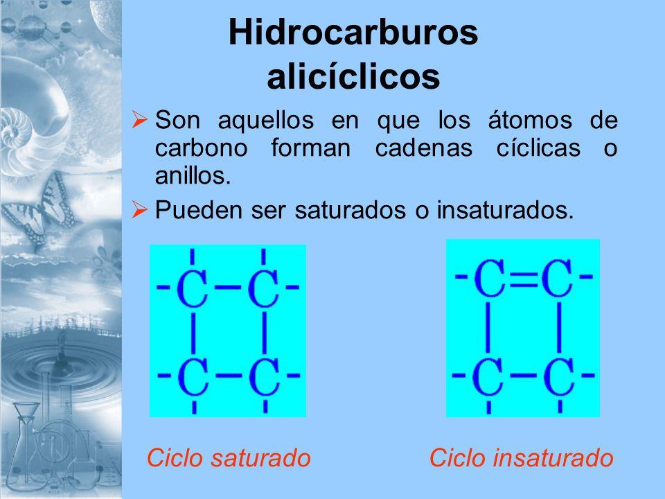 Hidrocarburos alicíclicos Son aquellos en que los átomos de carbono forman cadenas cíclicas o anillos. Pueden ser saturados o insaturados. Ciclo satur