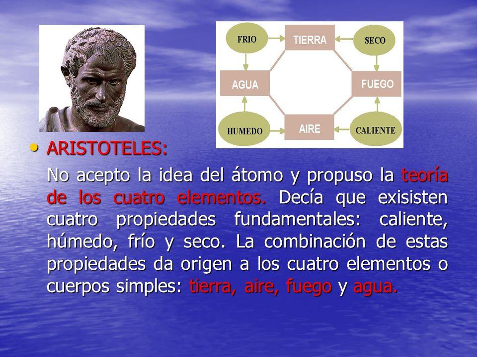 ARISTOTELES: ARISTOTELES: No acepto la idea del átomo y propuso la teoría de los cuatro elementos. Decía que exisisten cuatro propiedades fundamentale