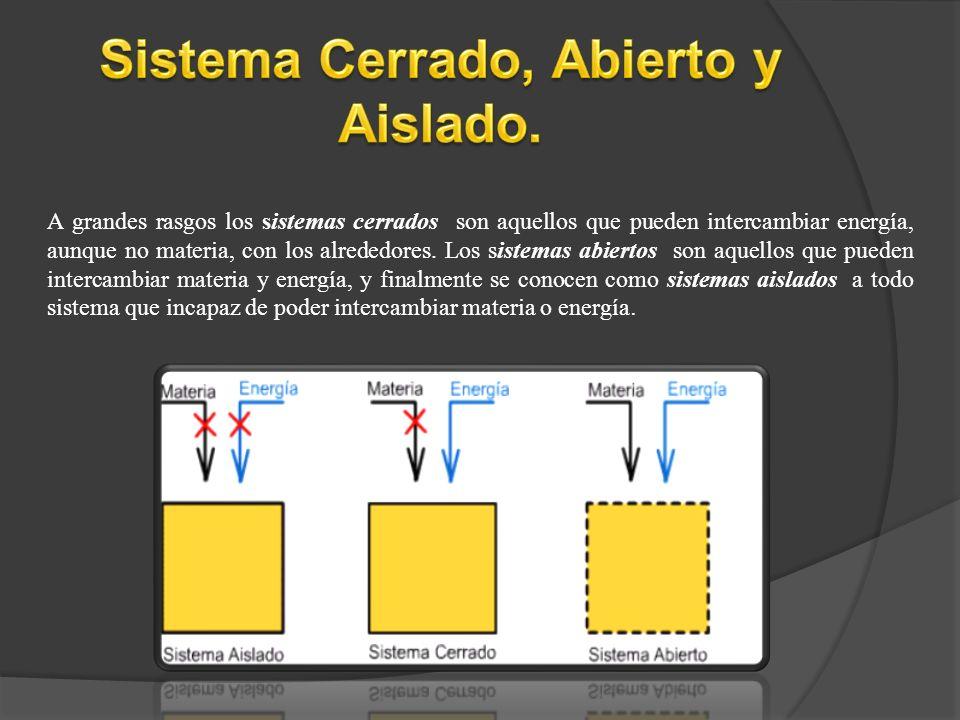 A grandes rasgos los sistemas cerrados son aquellos que pueden intercambiar energía, aunque no materia, con los alrededores. Los sistemas abiertos son