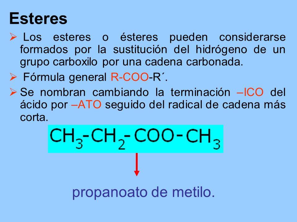 Esteres Los esteres o ésteres pueden considerarse formados por la sustitución del hidrógeno de un grupo carboxilo por una cadena carbonada. Fórmula ge
