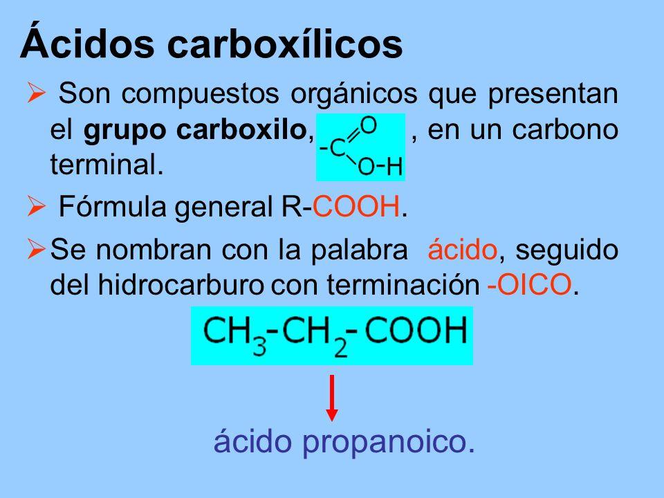Ácidos carboxílicos Son compuestos orgánicos que presentan el grupo carboxilo,, en un carbono terminal. Fórmula general R-COOH. Se nombran con la pala