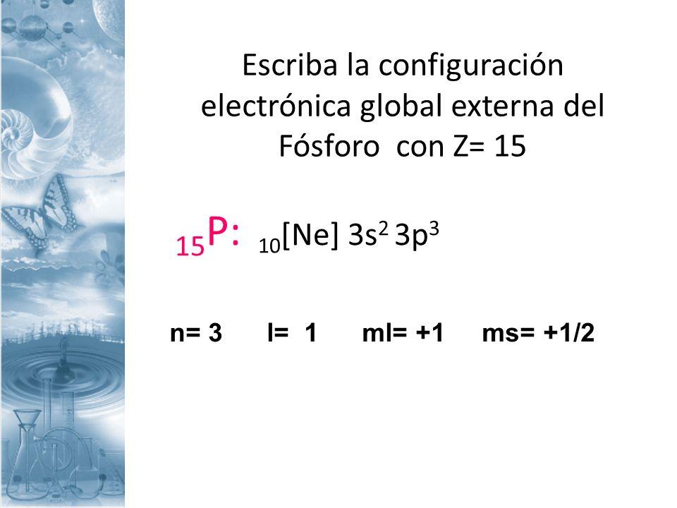 Escriba la configuración electrónica global externa del Fósforo con Z= 15 15 P: 10 [Ne] 3s 2 3p 3 n= 3 l= 1 ml= +1 ms= +1/2