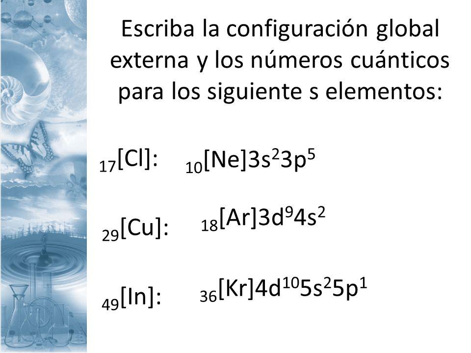 Escriba la configuración global externa y los números cuánticos para los siguiente s elementos: 17 [Cl]: 29 [Cu]: 49 [In]: 10 [Ne]3s 2 3p 5 18 [Ar]3d
